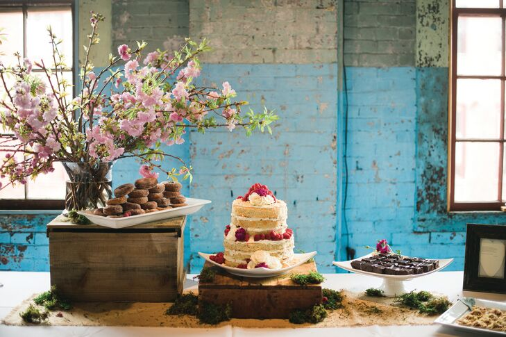 "While 111 Maine's menu of everything from mini lobster rolls to fish tacos with blueberry-mango slaw went over big with the couple's guests, the cake received rave reviews. ""I love coconut and the look of naked cakes, so those were my only requests,"" says Lauren. The couple's catering team delivered with a decadent coconut-raspberry confection, plus an assortment of miniature desserts including strawberry rhubarb tartlets."