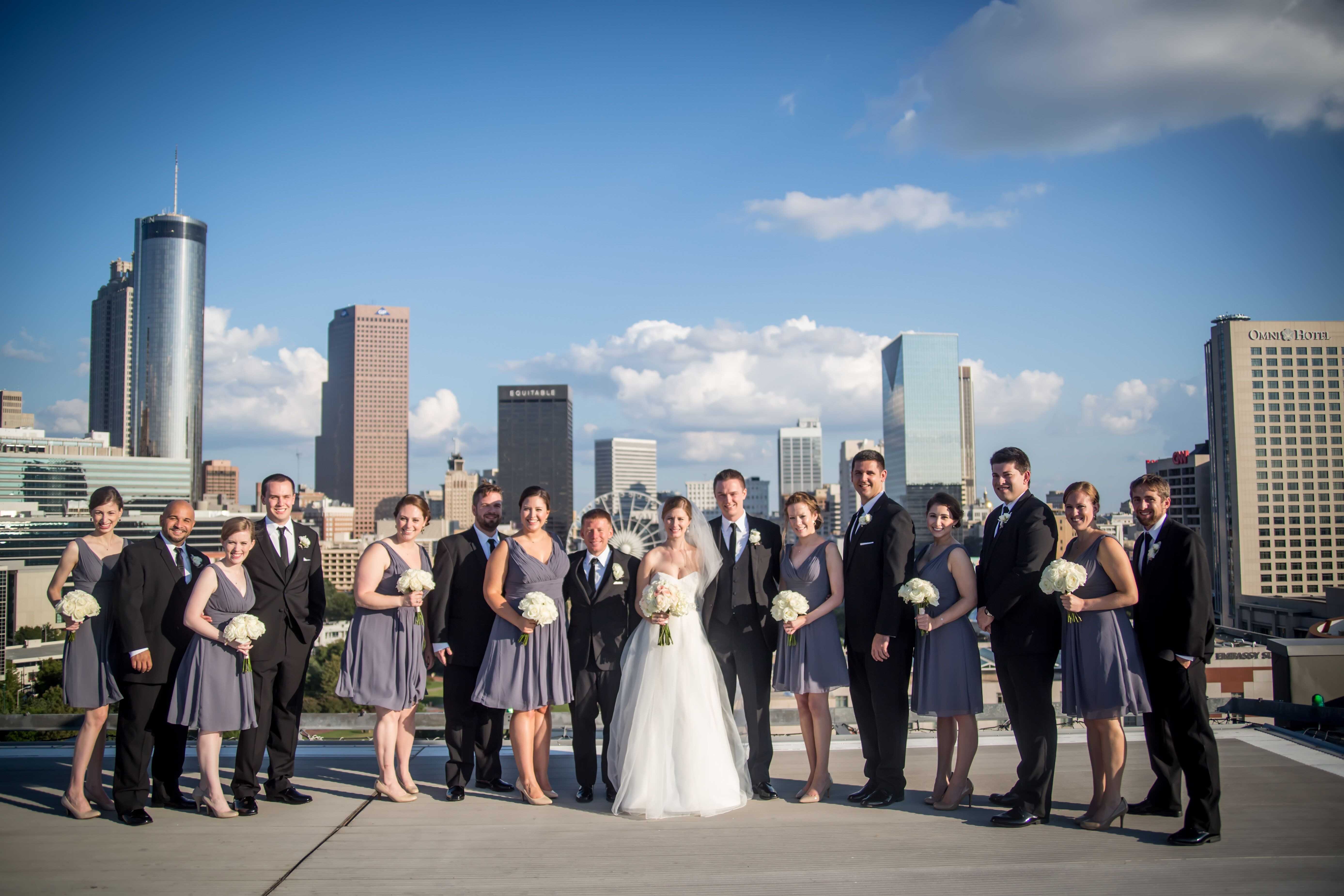 Gray Bridesmaid Dresses and Black Groomsmen Suits