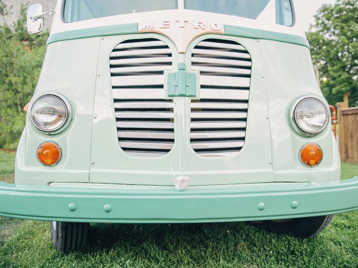Wedding reception food truck retro ice cream truck