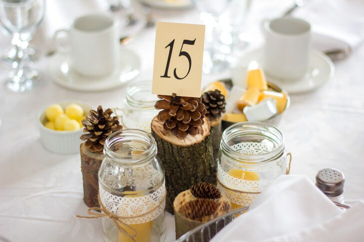 Rustic Pinecone and Tree Slice Centerpieces