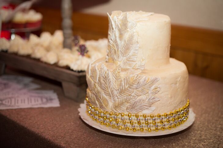 two tier white and gold wedding cake two tier white and gold wedding cake 21379
