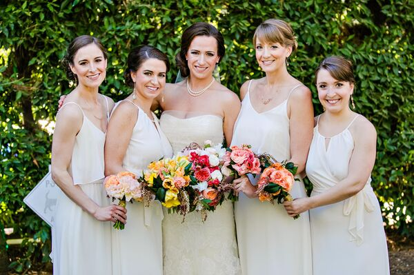 Bridesmaids Dressed in Ivory with Suzanne