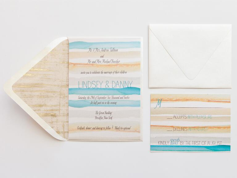 Katie Fischer Design watercolor wedding invitation