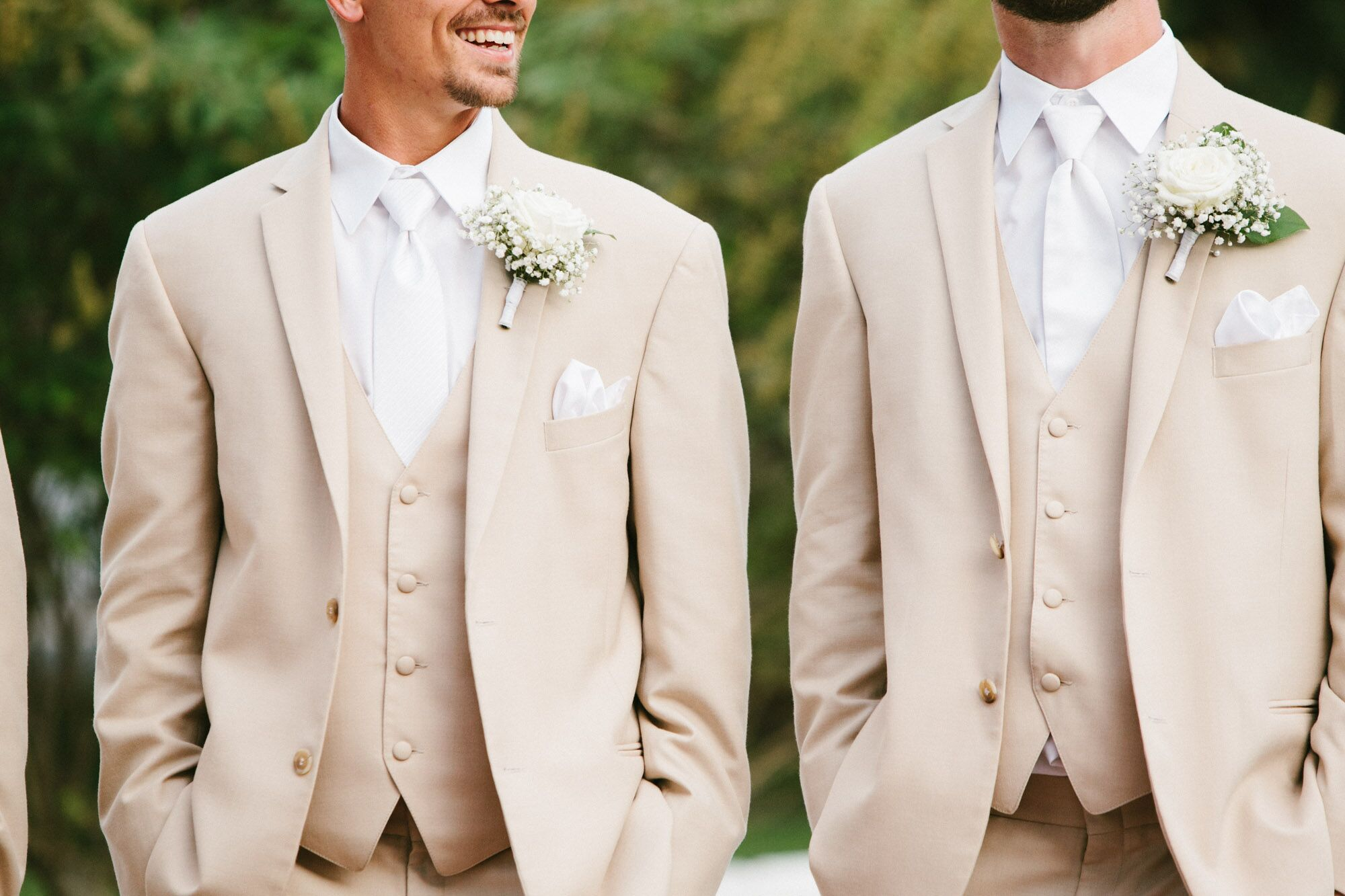Tan Tuxedos With White Ties