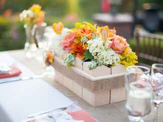 Colorful wedding floral centerpiece