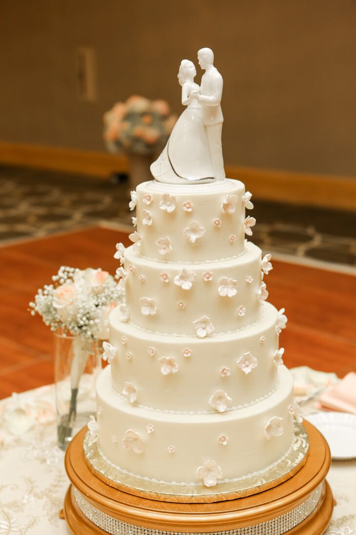 White wedding cake with fondant flowers mightylinksfo