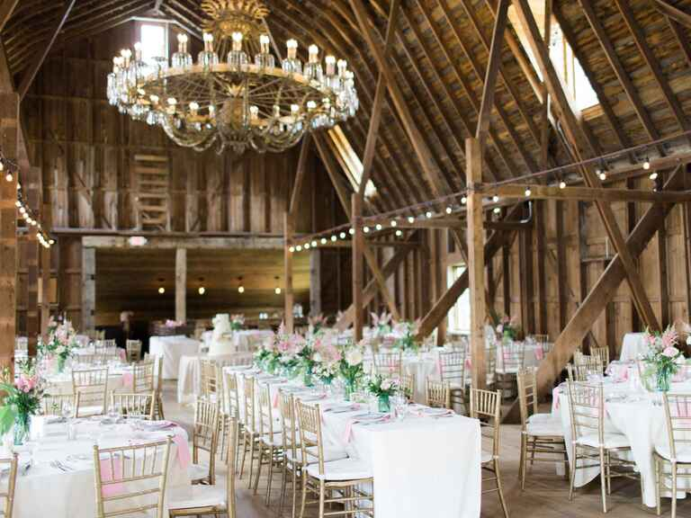 Pink and green barn wedding reception from Eden Designs