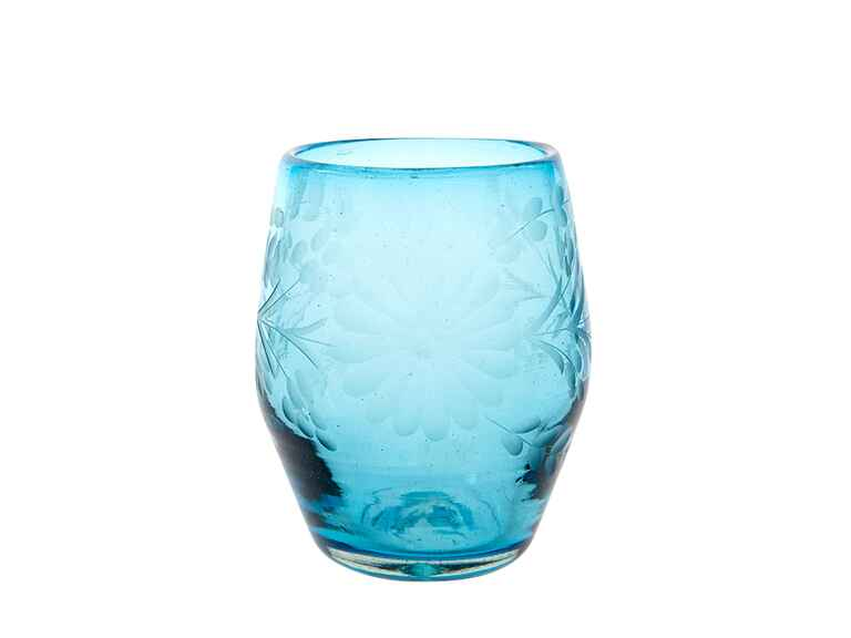 The Little Market aqua stemless wine glass