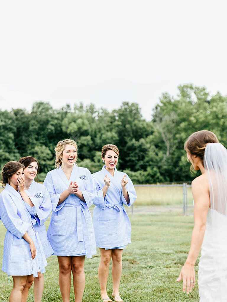 Bridal party seeing the bride for the first time