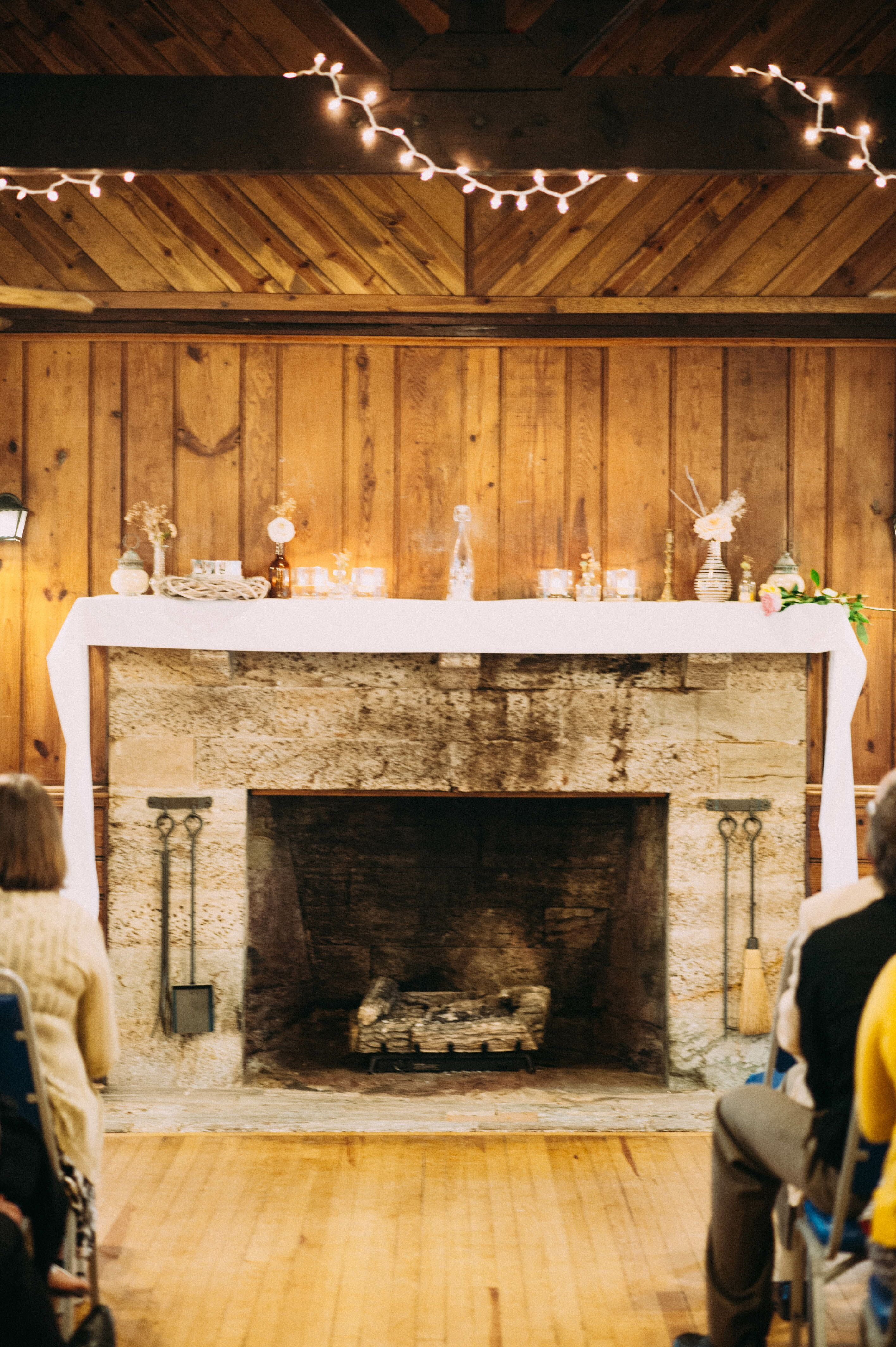 fireplace altar at the ceremony