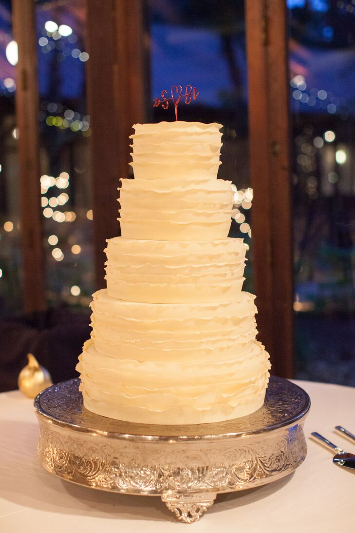 Five-Tiered Ruffled Wedding Cake