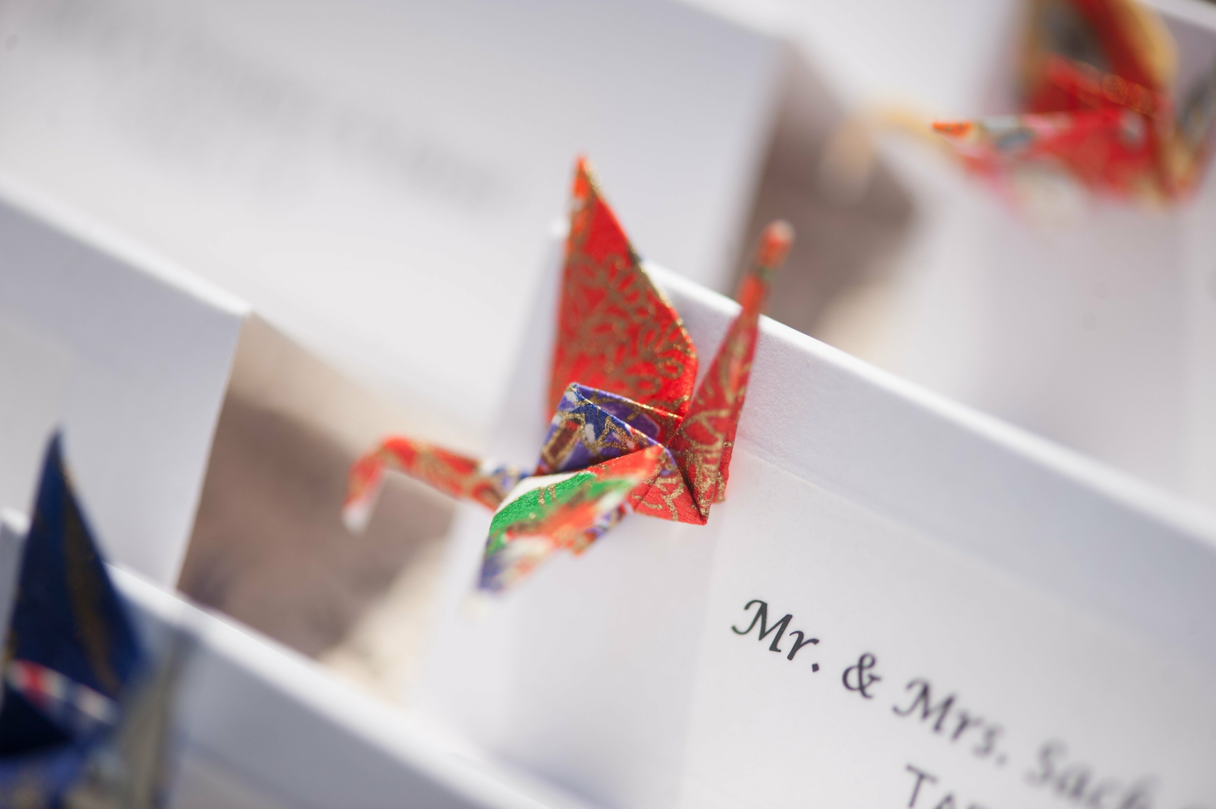 Escort Cards with Origami Cranes