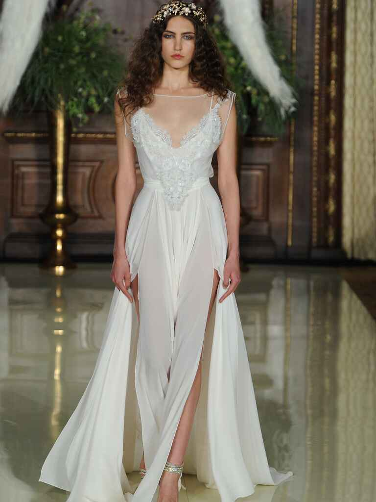 Galia Lahav illusion neckline wedding dress with high leg slits and flowing train from Spring 2016