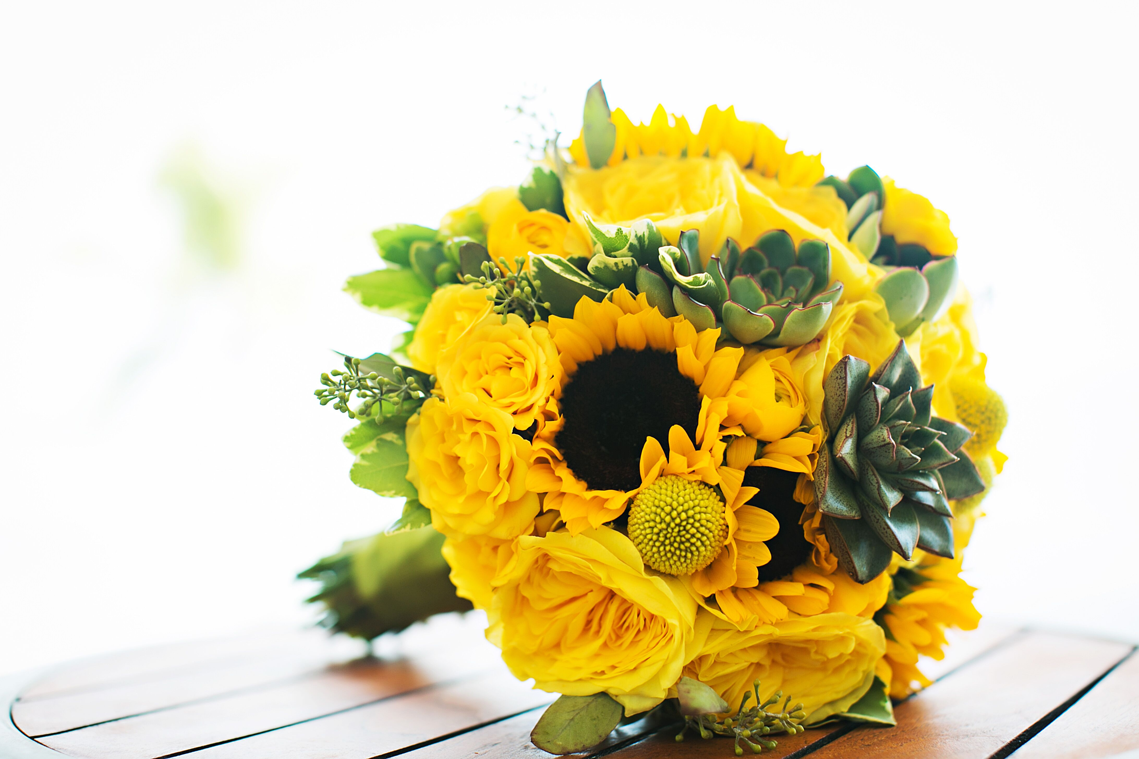 Yellow Succulent And Sunflower Bridal Bouquet