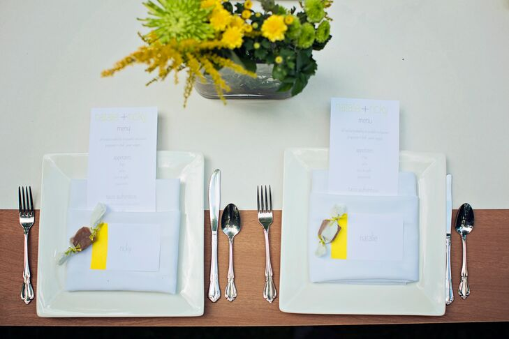 White butcher's paper served as the table runners for each outdoor table during the couple's reception.