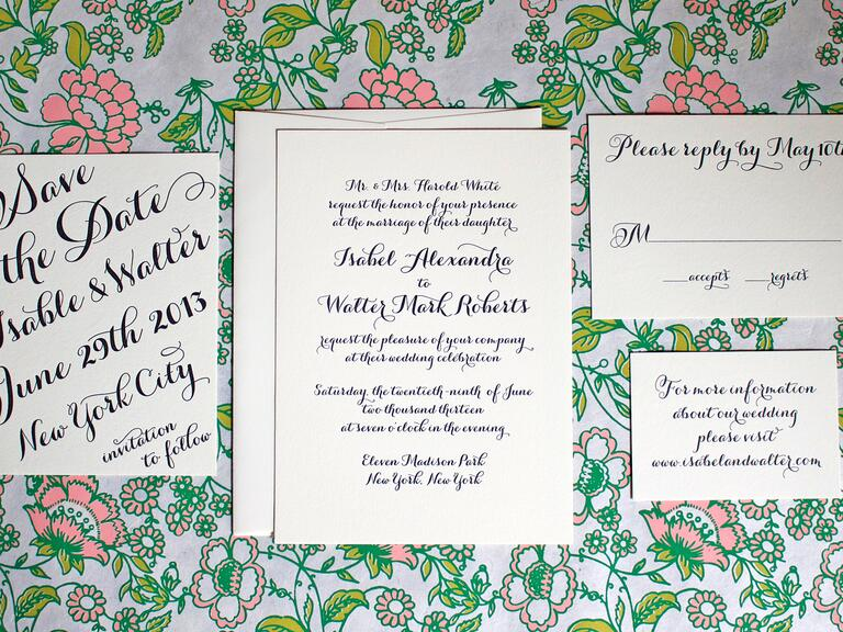 Greenwich Letterpress handwritten calligraphy wedding invitation