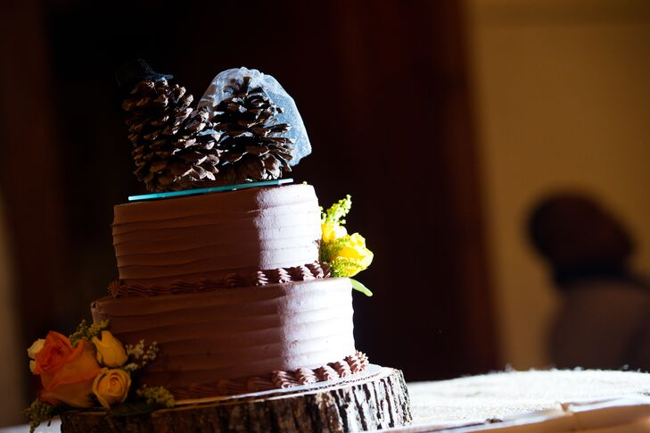 Two Tier Chocolate Cake on a Wood Slab with Pine Cone Topper
