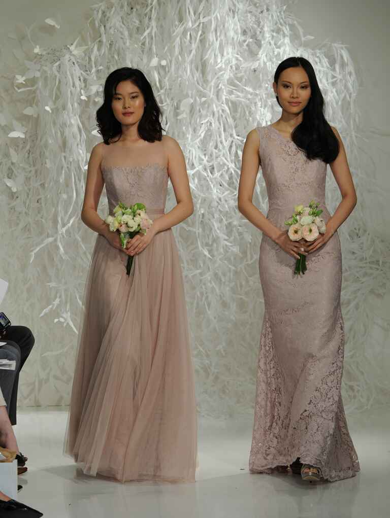 Watters Fall 2016 illusion neckline champagne lace and tulle bridesmaid dresses