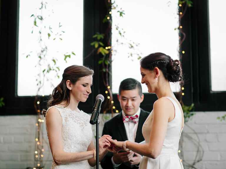 Friend officiating wedding ceremony