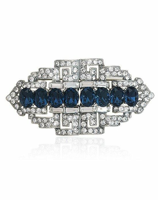 Thomas Laine Bridal Crystal Sapphire Brooch Wedding  photo