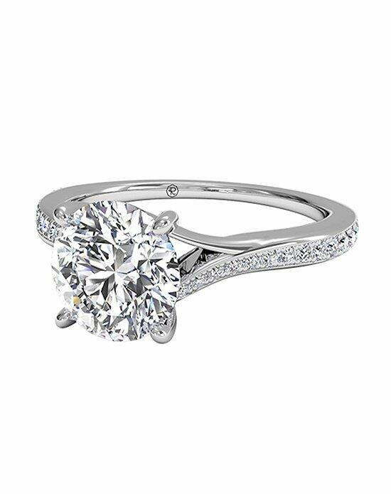 Ritani Round Cut Modern Bypass Micropavé Diamond Band Engagement Ring in 18kt White Gold (0.19 CTW) Engagement Ring photo