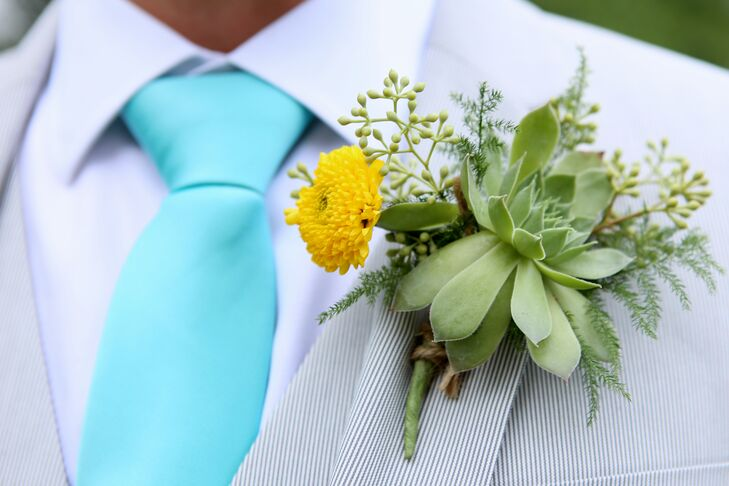 Succulent and Marigold Boutonniere with Teal Tie