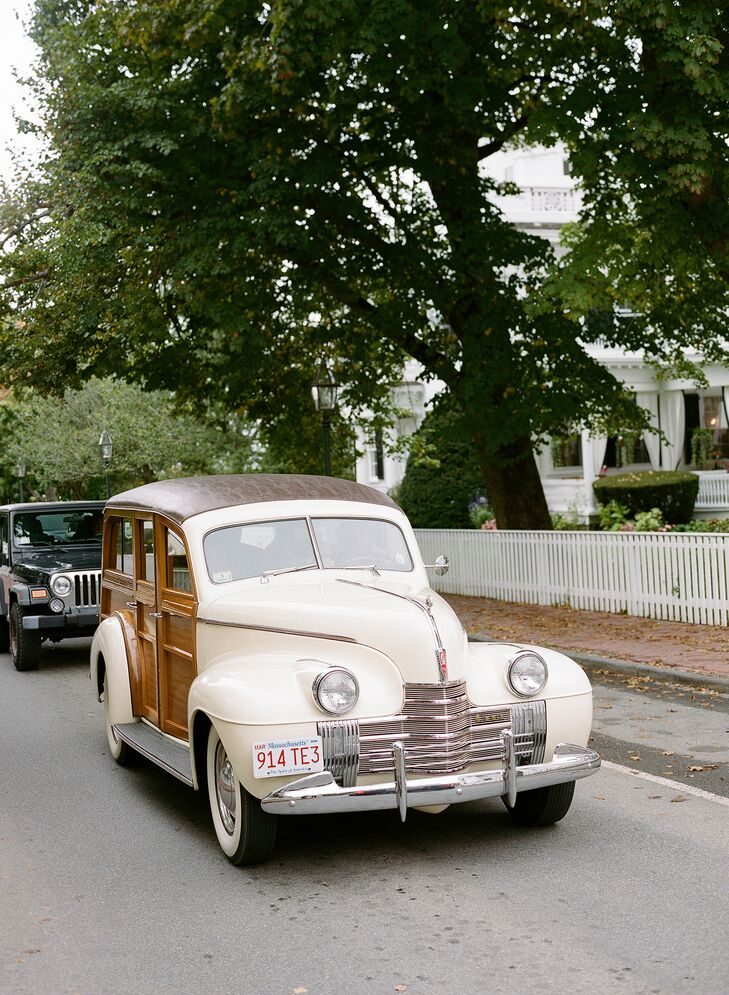 Caity and her parents arrived to the ceremony in style in the back of a cream-colored antique car. A close friend's father has an antique car collection on Martha's Vineyard that couple thought would perfect for their classic, elegant affair. At the end of the reception the newlyweds took a spin around the block in the classic car in celebration before heading down to Main Street for a fireworks display over Edgartown Harbor.