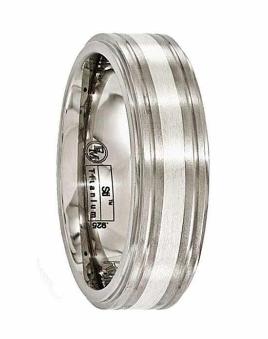 Larson Jewelers BACCHUS Brushed Titanium Ring with Sterling Silver Inlay by Edward Mirell - 7 mm Wedding Ring photo