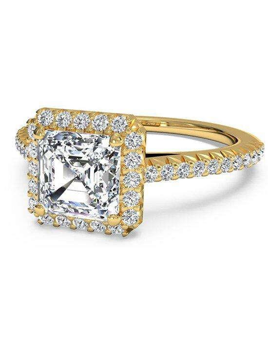 Ritani Asscher Cut French-Set Halo Diamond Band Engagement Ring in 18kt Yellow Gold (0.21 CTW) Engagement Ring photo