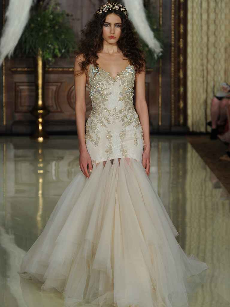 Galia Lahav champagne beaded bodice wedding dress with tulle skirt from Spring 2016