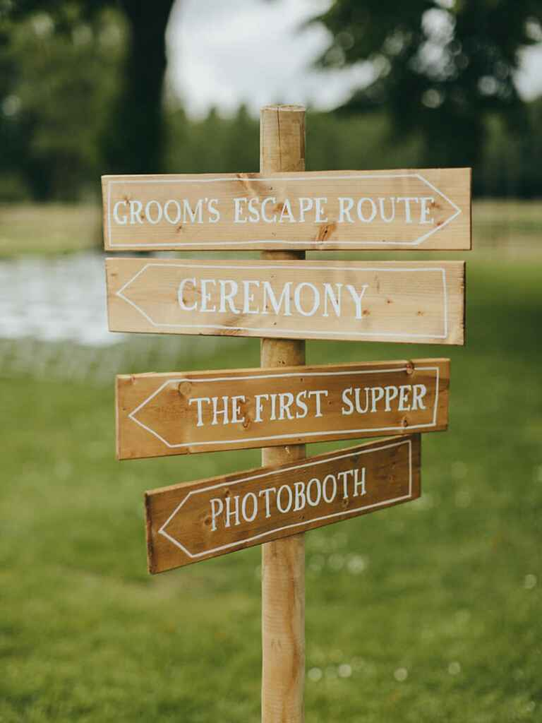 Wedding wood directional signs