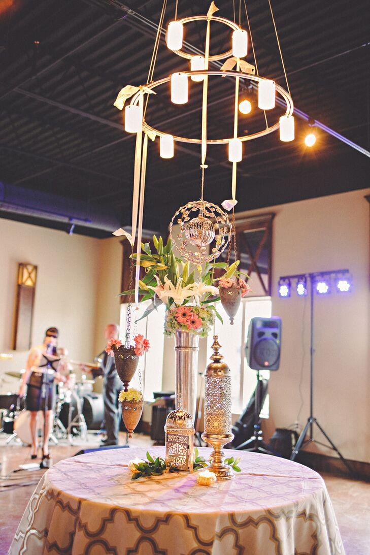 Lily and Gerbera Dairy Centerpieces with Silver Moroccan Lanterns