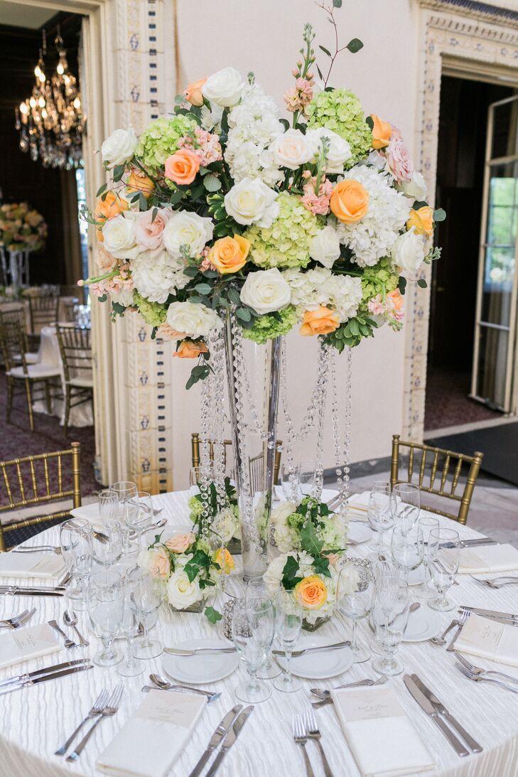 Tall Rose Hydrangea And Eucalyptus Centerpiece