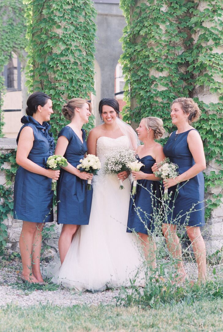 Navy Alfred Sung Cocktail-Length Bridesmaid Dresses