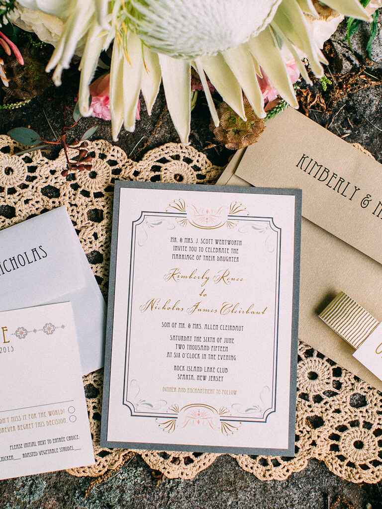 """Dinner and enchantment to follow"" Disney wedding invitation idea"