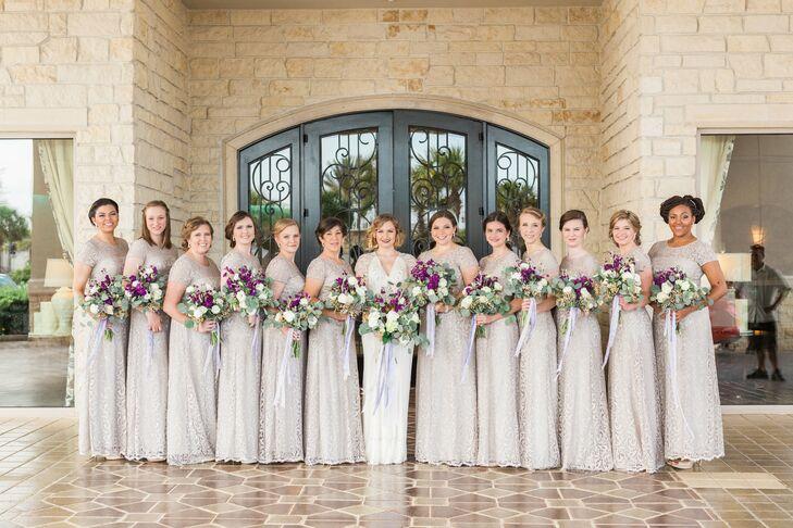 Short Beige Lace Bridesmaid Dresses: Adrianna Papell Neutral Lace Bridesmaid Dresses