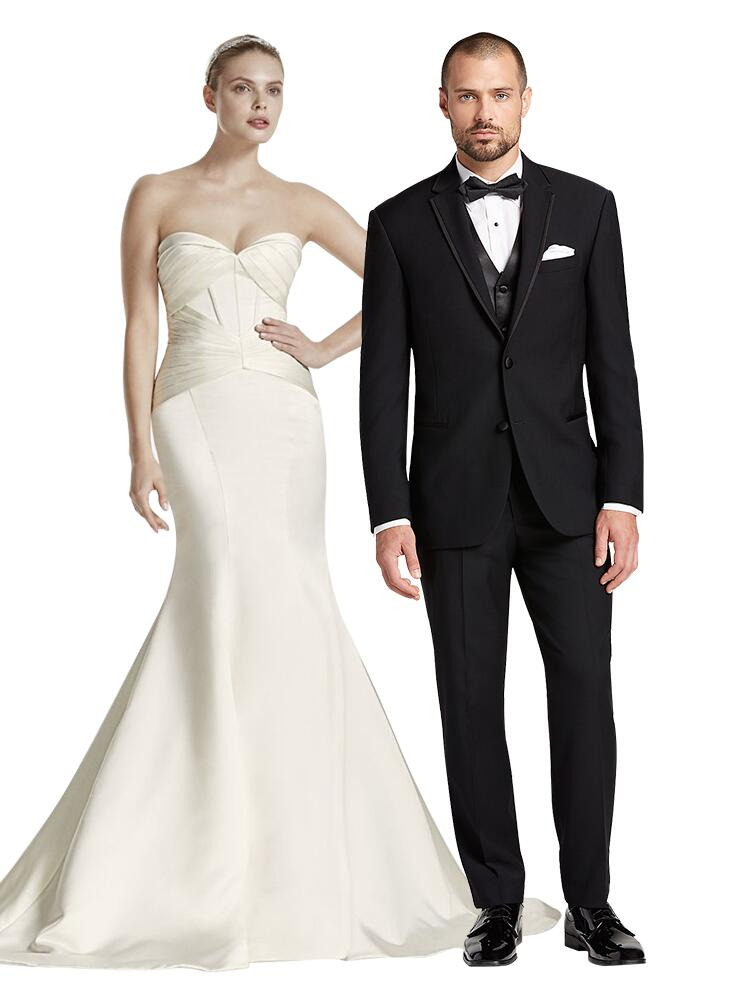 sleek wedding dress and tuxedo