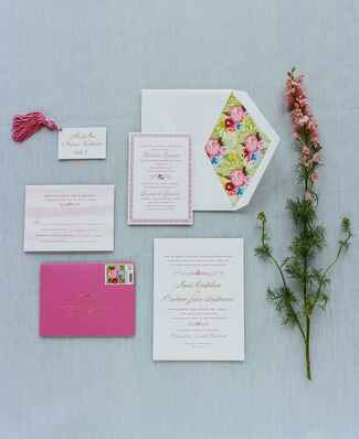Colorful watercolor invitations with custom crest