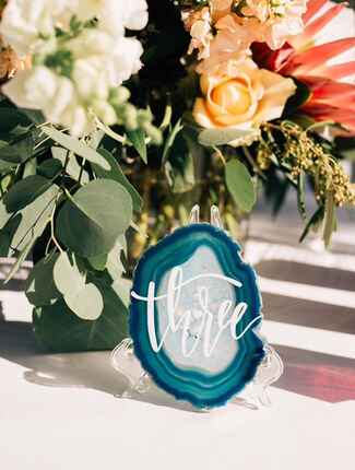 Blue agate geode table numbers with white calligraphy
