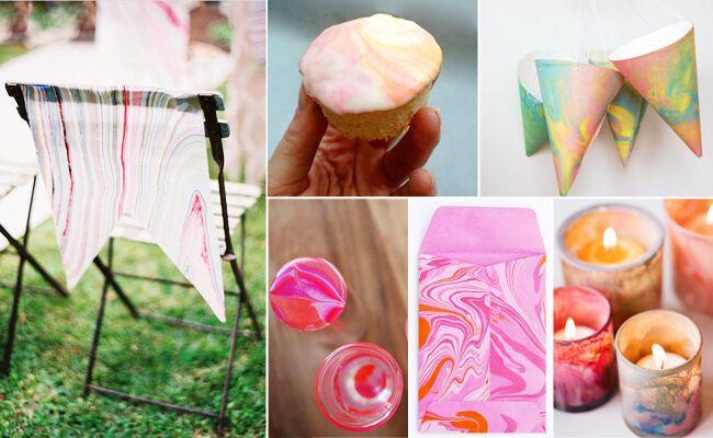 6 Marbleized DIY Wedding Projects