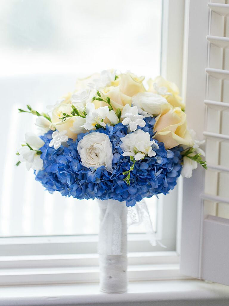 Blue And White Wedding Bouquet With Hydrangea Ranunculus Freesia Roses Stephanotis