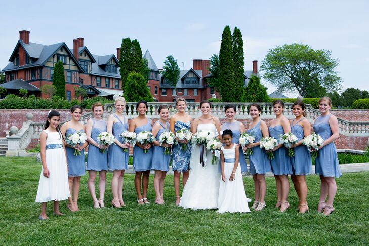 Nude Beige Short Bridesmaid Dresses Each With Their Own: Slate Blue Amsale Bridesmaid Dresses