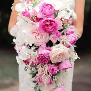 pink and white orchid rose cascading bouquet