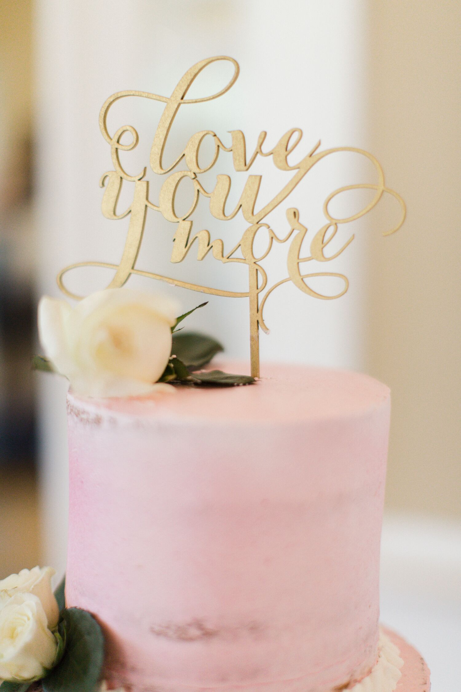 Gold 'Love You More' Wedding Cake Topper
