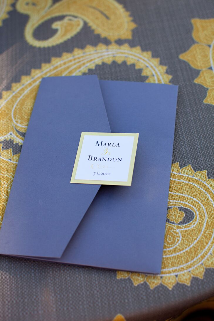 Guests received simple navy ceremony programs.