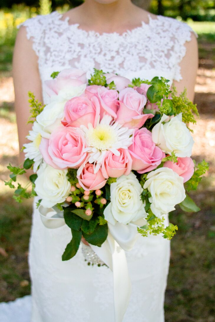 Pink Rose and White Gerbera Daisies Bouquet