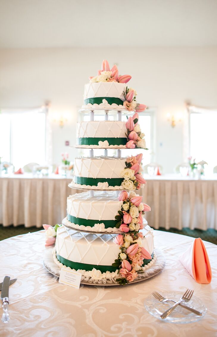 Tiered Pink and Green Wedding Cake with Tulip Accents