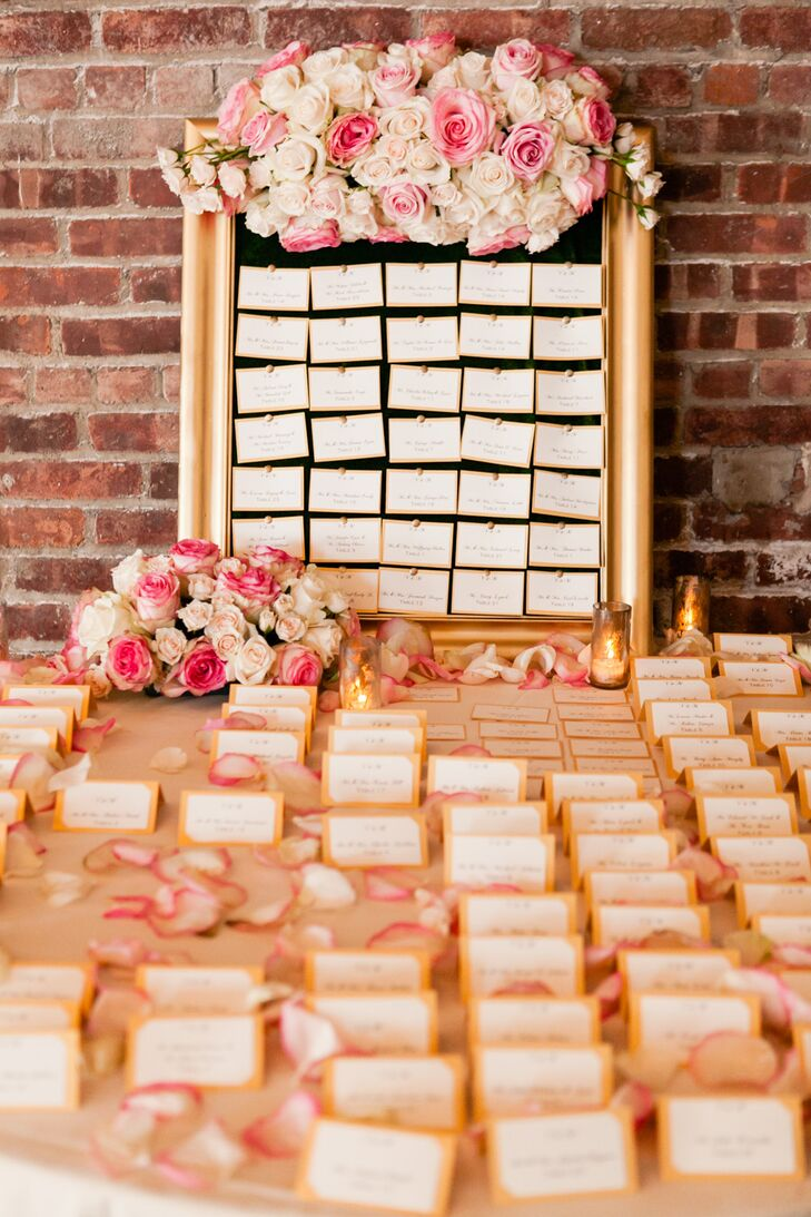 Classic Blush Colored Paper Escort Cards