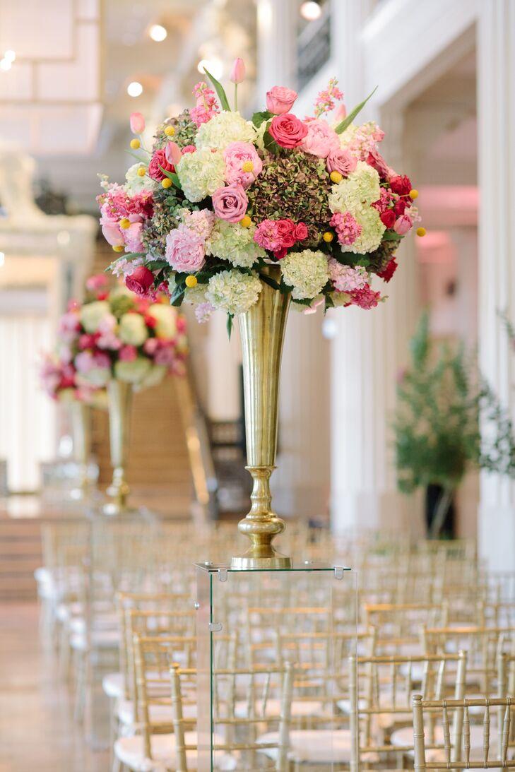 Tall pink white gold floral arrangement mightylinksfo