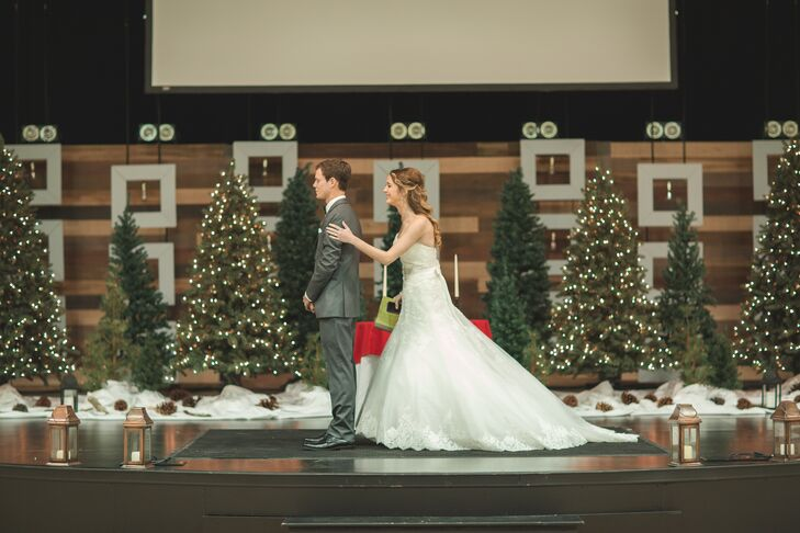 First Look With Christmas Tree Backdrop